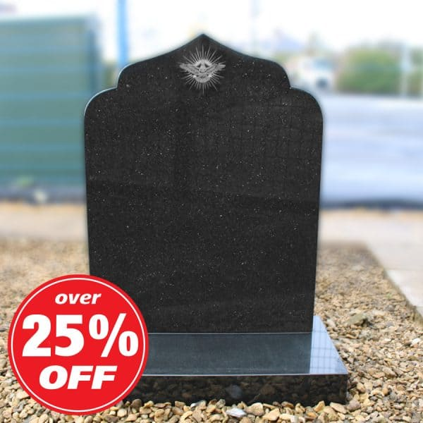 Black granite headstone by CJ Ball Memorials
