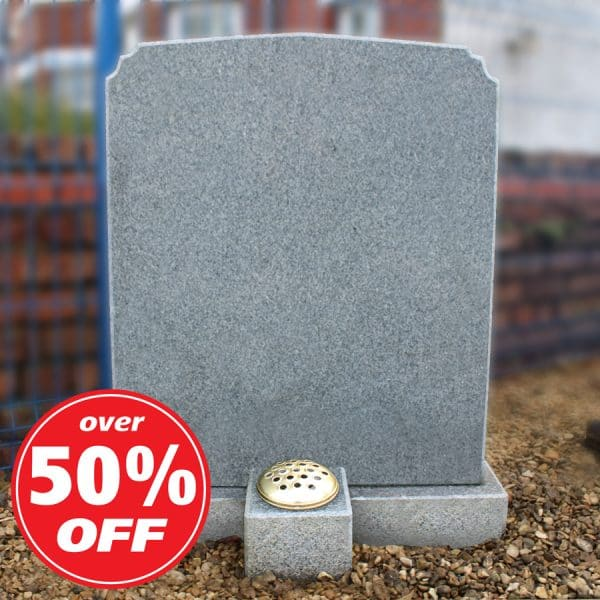 Grey headstone with single flower container by CJ Ball