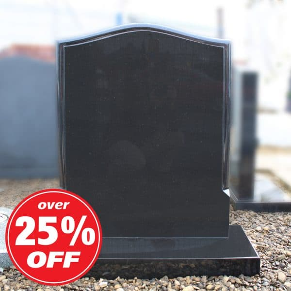 Black ogee memorial with smooth edges by CJ Ball