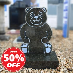 Black teddy bear children's headstone