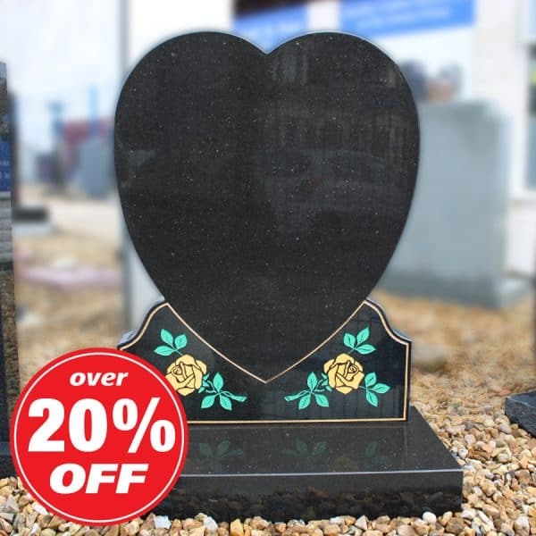 Black heart headstone with painted rose design