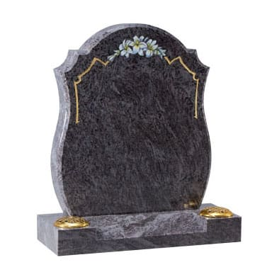 Black rounded top headstone with painted flower design