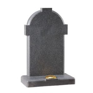 Grey headstone with cross design and single stem holder