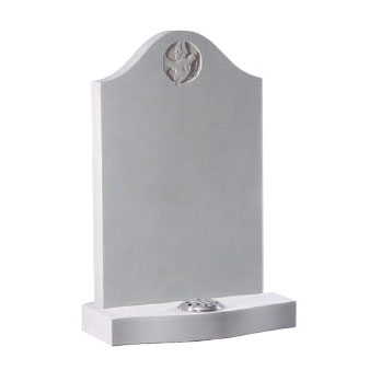 White ogee headstone with engraved dove by CJ Ball