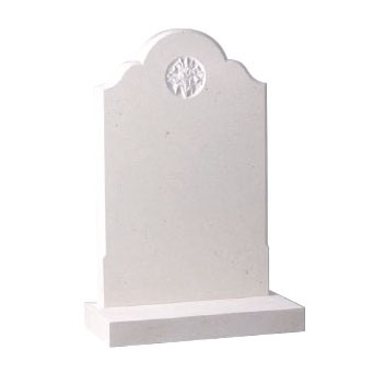 CJ Ball white lawn memorial with engraved design