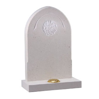 White rounded headstone with engraved design and stem holder