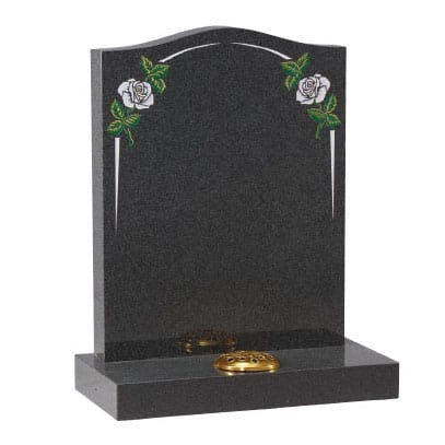 Black ogee headstone with painted flower design