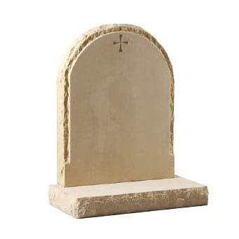 Rounded headstone with engraved cross design by CJ Bal