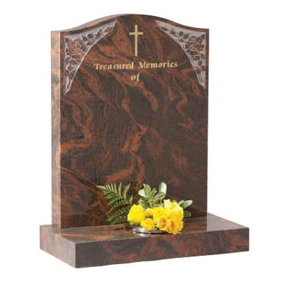 CJ Ball ogee headstone with gilded cross design