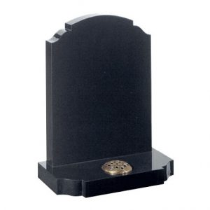 Black headstone with single flower container