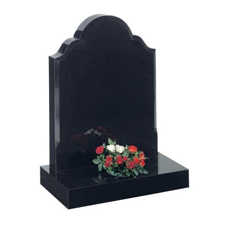Black lawn memorial with flower container