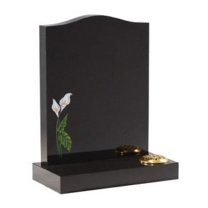 Black ogee memorial with painted lily design