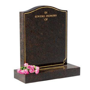 Black ogee headstone with gilded border