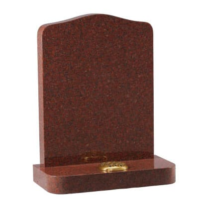 Red granite ogee headstone with flower holder