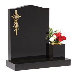 Black ogee headstone with gilded rose and cross design
