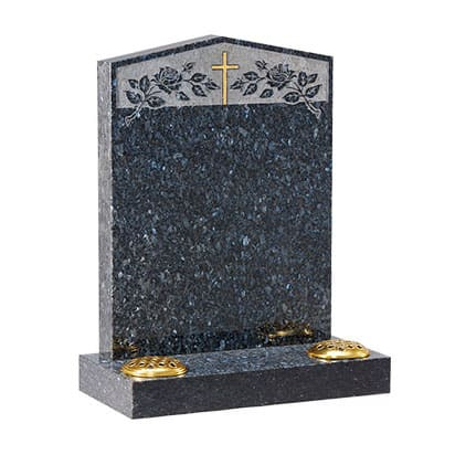 Grey granite pointed headstone with gold cross design