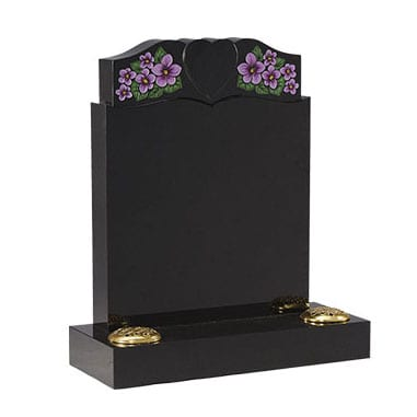 Black headstone with painted flower design and cut out heart