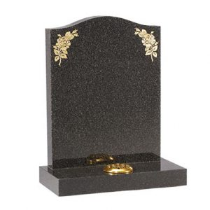 Black ogee headstone with gilded flower design