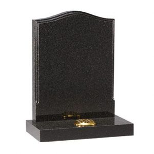 Black ogee headstone with single flower container