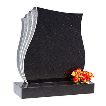 Black headstone with grey edge detailing and single flower container