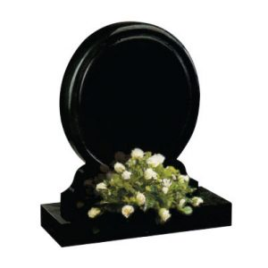 Black round headstone with flower holder