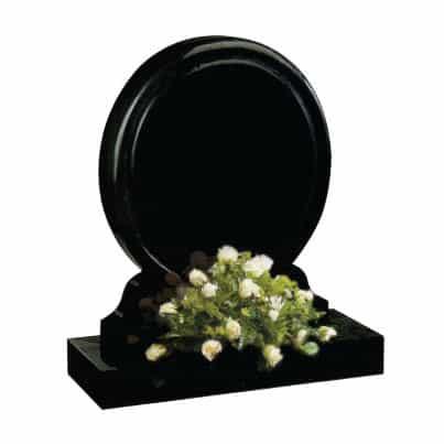 Black round headstone with flower holder