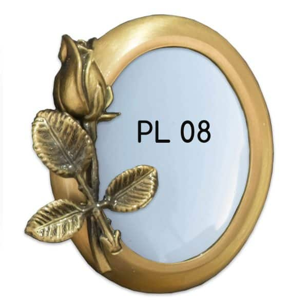 Round bronze memorial photo frame with floral decoration
