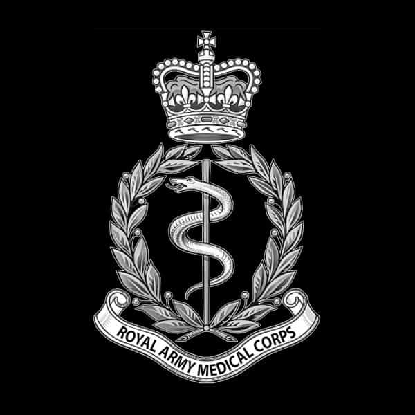 Black and white Royal Army Medical Corps logo