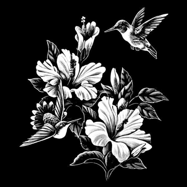 Black and white flowers and bird