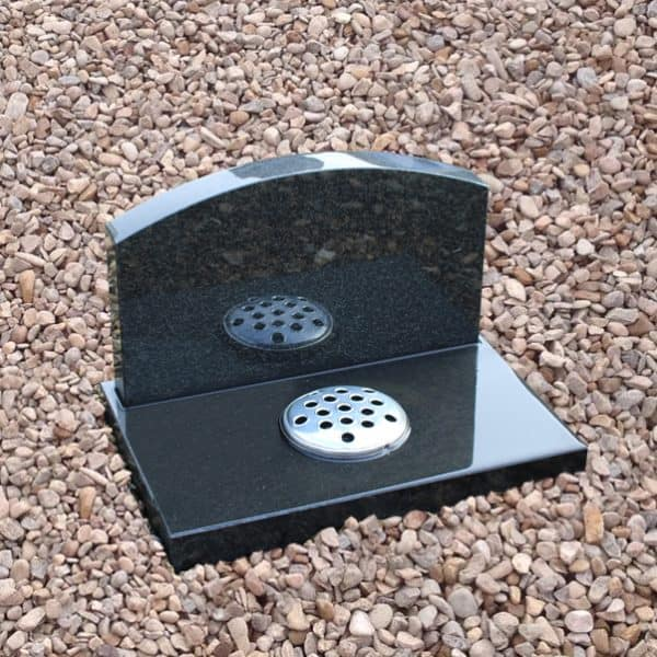 Dark grey granite cremation memorial