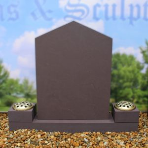 Grey pointed headstone with twin flower holders