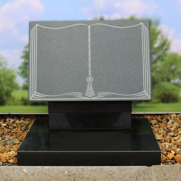 Grey book memorial with engraved tassel