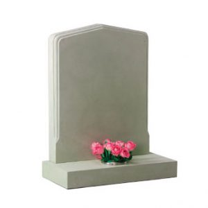 White pointed headstone with single flower holder