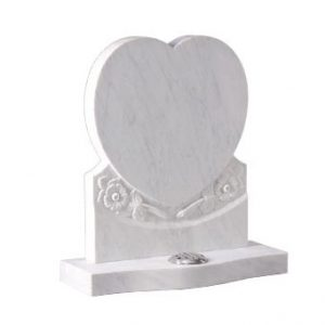 White marble heart headstone by CJ Ball memorials