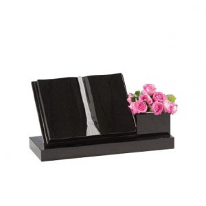 Black book memorial with single flower holder