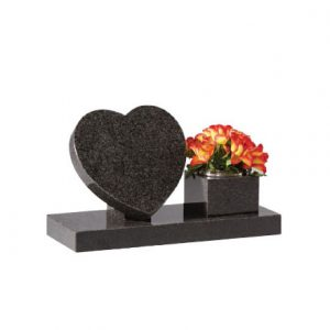Grey heart memorial with flower vase