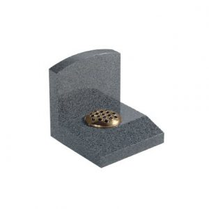 Small grey cremation memorial with single flower container