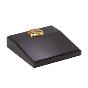 Black granite desk memorial with single flower container