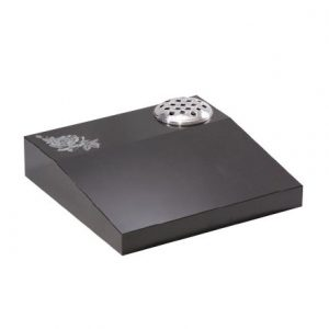Black granite desk memorial with etched flower design