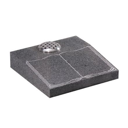 Black granite desk memorial with etched book design