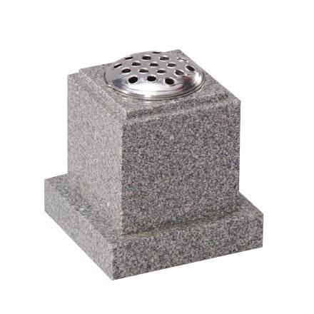 Light grey square memorial vase with stem holder