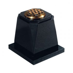 Black granite memorial vase with gold stem holder