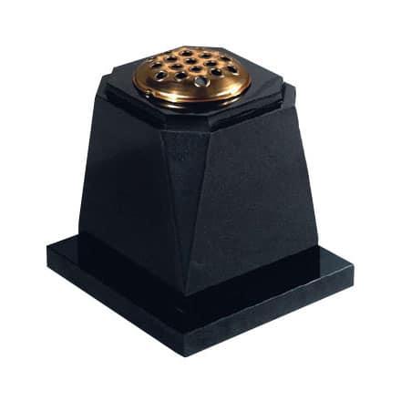 Black granite memorial vase with gold stem holder