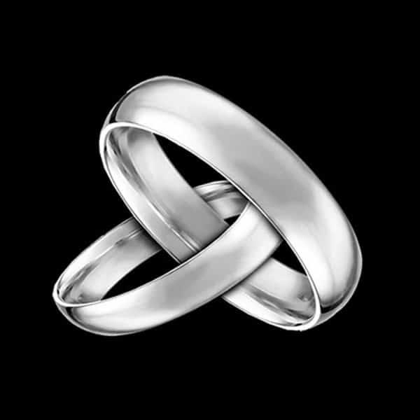 Black and white wedding rings