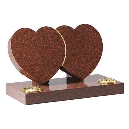 Ruby Red granite double heart headstone with gilded line