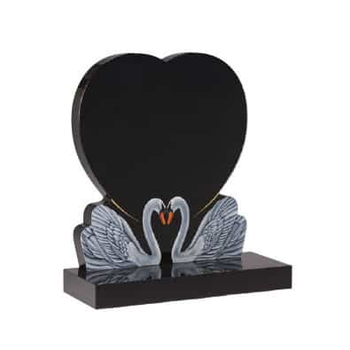 Black granite heart headstone with two etched and painted swans together