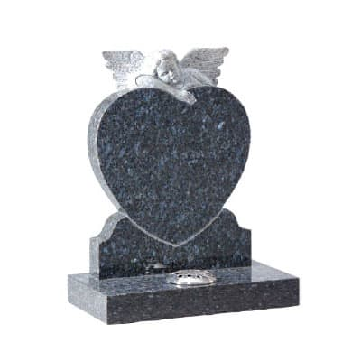Blue Pearl granite heart headstone with hand carved angel