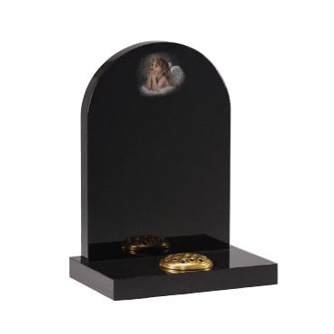 Black granite headstone with 'cherub' hand shadow punched ornament