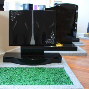 Black Headstone Memorials in CJ Ball Showroom