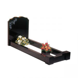 EC113 Black granite with a dipped centre headstone and double check shoulders